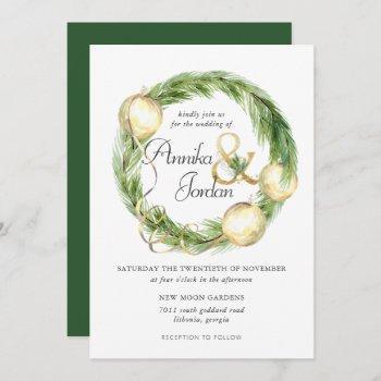 sparkling cheer greenery wreath wedding invitation
