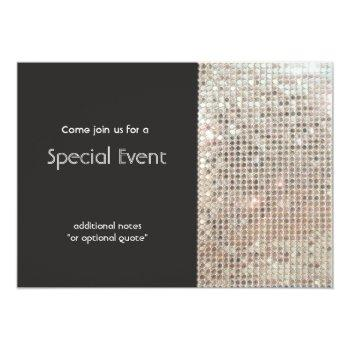 sparkly silver sequins festive fun party invitation