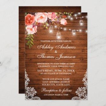 special - rustic wood coral floral wedding invitation