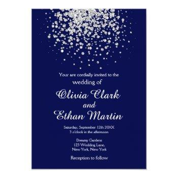splash of silver glitter on royal blue invitation