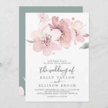 spring cherry blossom all in one wedding invitation
