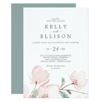spring cherry blossom casual wedding invitation