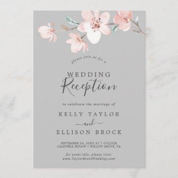 spring cherry blossom   gray wedding reception invitation
