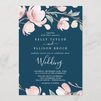 spring cherry blossom   navy wedding invitation