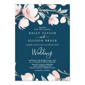 spring cherry blossom | navy wedding invitation