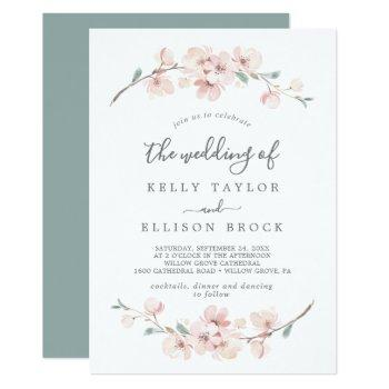 spring cherry blossom the wedding of invitation