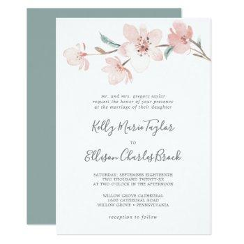spring cherry blossom traditional wedding invitation