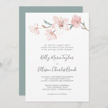 spring cherry blossom traditional wedding invitation