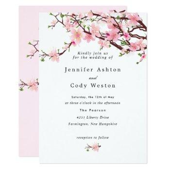 spring cherry blossoms pale pink wedding 2 sides invitation