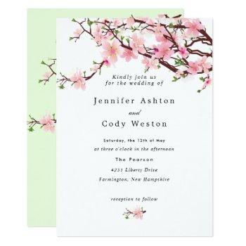 spring cherry blossoms pale pink wedding invitation