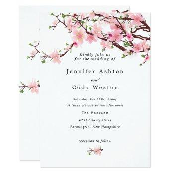 spring cherry blossoms pale pink white wedding invitation