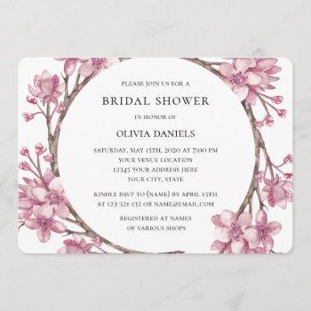 spring pink cherry blossom. floral bridal shower invitation