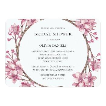 spring pink cherry blossom. floral bridal shower invitation