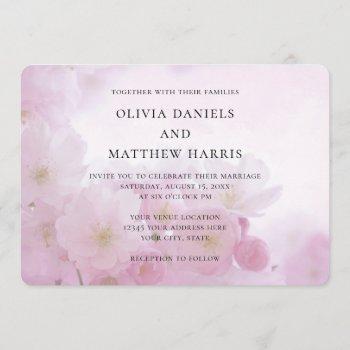 spring pink sakura, cherry blossom. floral wedding invitation