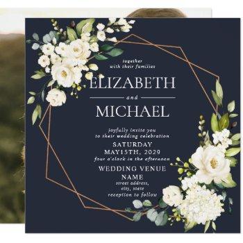 square copper marble geometric blue floral photo invitation