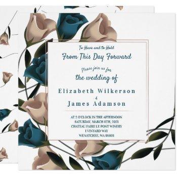 square teal rose wedding invitation