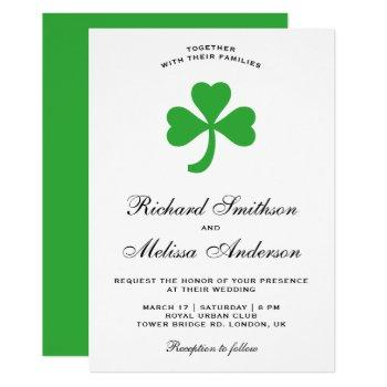 st. patrick's day green clover wedding invitation