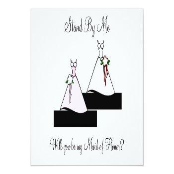 Small Stand By Me Maid Of Honor On Stairs Invitation Front View