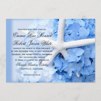 starfish and hydrangea tropical blue wedding invitation