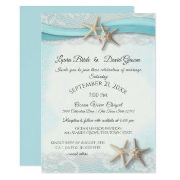starfish and lace beach ocean blue wedding invitation