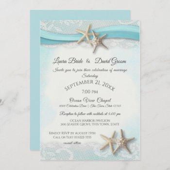 starfish and lace beach ocean blue wedding invitation