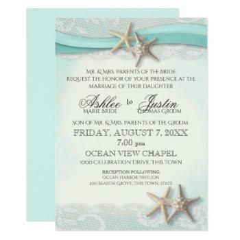 starfish and lace beach watercolor aqua wedding invitation