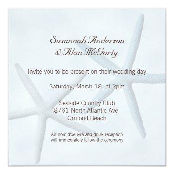 Small Starfish Beach Wedding Invitations Back View