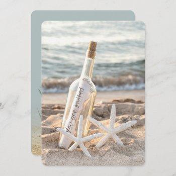 starfish message in a bottle wedding invitation