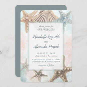 starfish seashells tropical beach wedding invitation