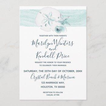 starfish shells modern elegant beach wedding party invitation