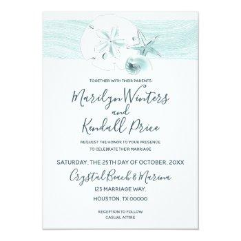 Small Starfish Shells Modern Elegant Beach Wedding Party Invitation Front View