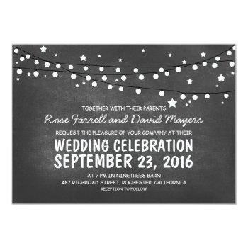 starry night lights chalkboard wedding invitations