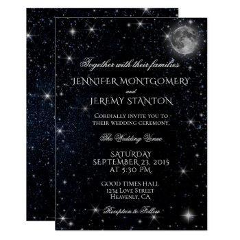 starry night moon wedding invitation