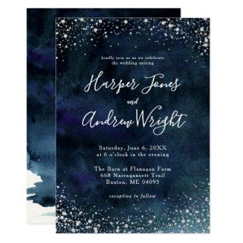 starry night navy blue silver glitter wedding invitation