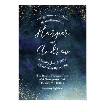 starry night navy blue watercolor wedding invitation