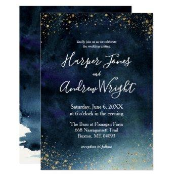 starry night navy gold watercolor wedding invitation