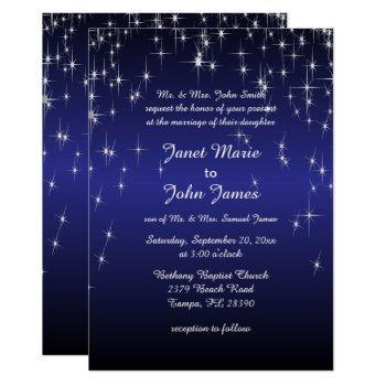 starry night wedding in dark blue invitation