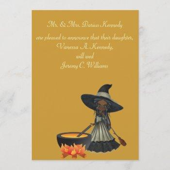 """""""stirring up a wedding"""" - african american witch invitation"""