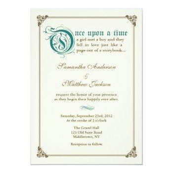 storybook fairytale wedding invitation - dark teal