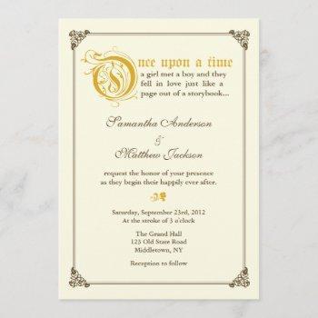 storybook fairytale wedding invitation - gold