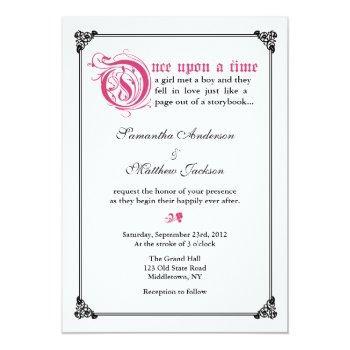 storybook fairytale wedding invitation -pink/black