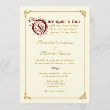 storybook fairytale wedding invitation -red/gold