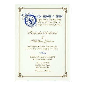 storybook fairytale wedding invitation -royal blue