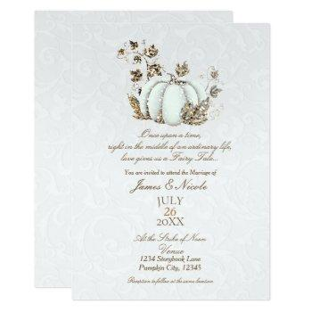 storybook gold white pumpkin fairy tale wedding invitation