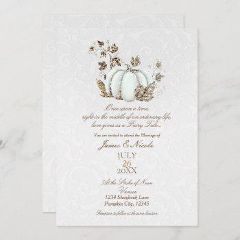 storybook gold white pumpkin fairy tale wedding invitation