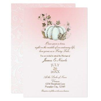 storybook pink & white pumpkin fairy tale wedding invitation