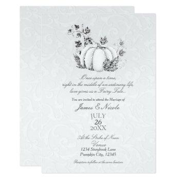 storybook silver white pumpkin fairy tale wedding invitation