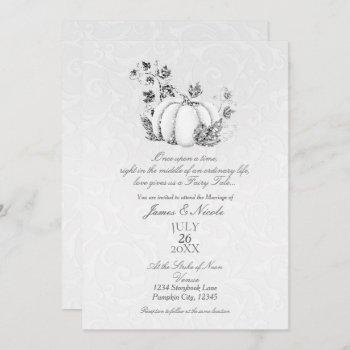 storybook silver white pumpkin fairy tale wedding invitation