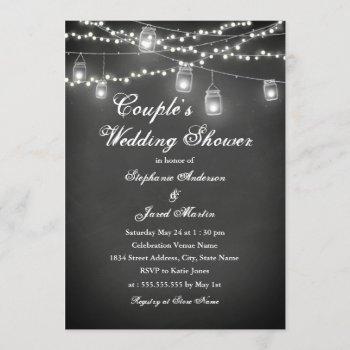 string lights chalkboard couples wedding shower invitation