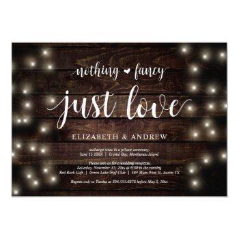 string lights farm, wood, wedding elopement party invitation